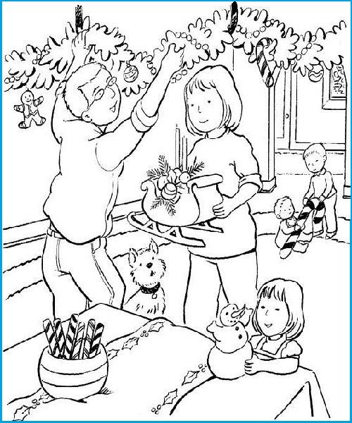Раскраски семьи на новый год